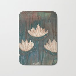 Three Lotus Flowers Bath Mat