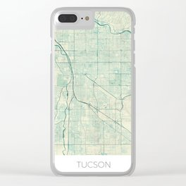 Tucson Map Blue Vintage Clear iPhone Case