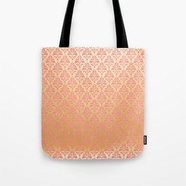 Modern vintage pink faux gold floral damask Tote Bag