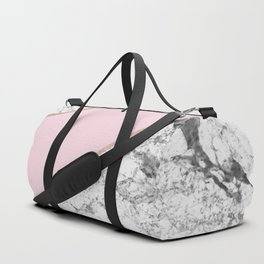 Celestial rose - dramatic white marble Duffle Bag