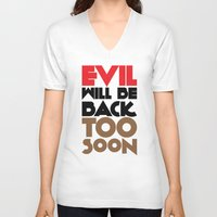 evil V-neck T-shirts featuring Evil by neil parrish
