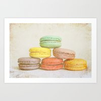 macarons Art Prints featuring Macarons by Anna Delores