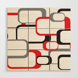 Red Black Gray Retro Square Pattern White Wood Wall Art