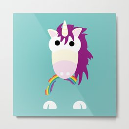 Minimal Unicorn Blue Metal Print