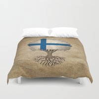 finland Duvet Covers featuring Vintage Tree of Life with Flag of Finland by Jeff Bartels