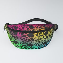 Fluttering pattern of neon squiggles and light pink ropes on a black background. Fanny Pack