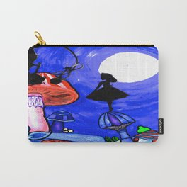 Trippy Original Alice in Wonderland by the Moon Mushroom Mixed Media Painting on Paper Carry-All Pouch