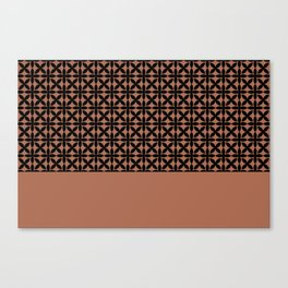Black Square Scroll Petal Pattern on Sherwin Williams Canyon Clay Canvas Print