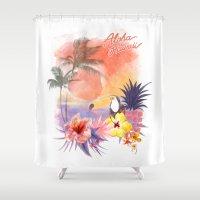 aloha Shower Curtains featuring aloha by ulas okuyucu