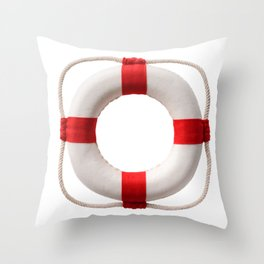 White-red lifebuoy, isolated on white background Throw Pillow
