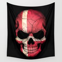 denmark Wall Tapestries featuring Dark Skull with Flag of Denmark by Jeff Bartels