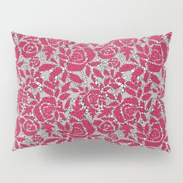 Red grey lace lace Pillow Sham