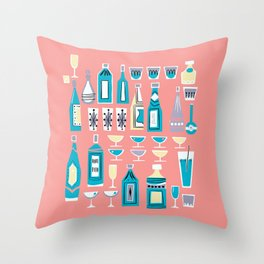 Cocktails And Drinks In Aquas and Pinks Throw Pillow