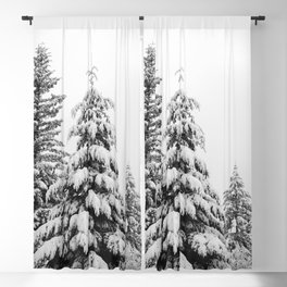 Winter Trees VI - Snow Capped Forest Adventure Nature Photography Blackout Curtain