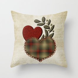 Red & Green Plaid Heart Love Letter Throw Pillow