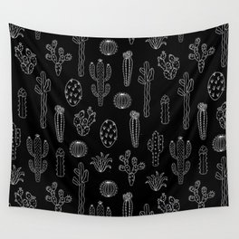 Cactus Silhouette White And Black Wall Tapestry