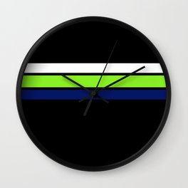 Team colors....Neon green .navy and white on black Wall Clock