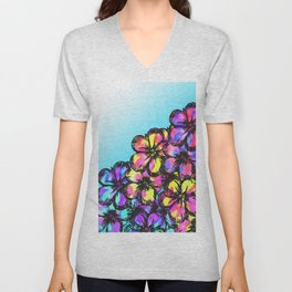 Beautiful Bright Neon Tie Dye Painted Flowers Unisex V-Neck