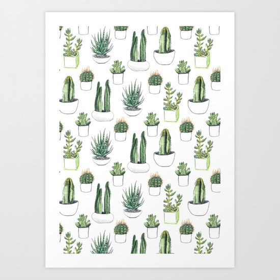Watercolour Cacti & Succulents by crumpetsandcrabsticks