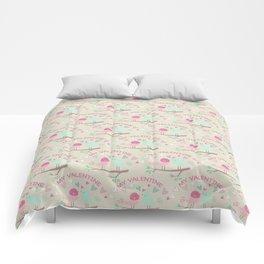 Pink teal gren love birds my valentine romantic floral Comforters