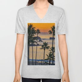Palms and Arch Rock at Sunrise Unisex V-Neck