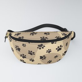 Brown Dog paw pattern. Digital illustration. Fanny Pack