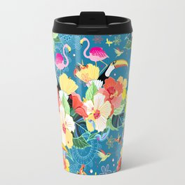 bright seamless tropical pattern with flowers and birds on a blue background Travel Mug