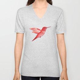 Red hummingbird colibri. Unisex V-Neck