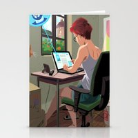 laptop Stationery Cards featuring Laptop by Josue Noguera
