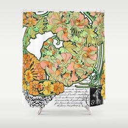Romance in Paris, Art Nouveau Floral Nostalgia Shower Curtain