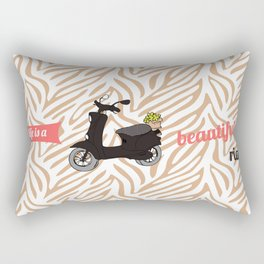 Life is a Beautiful Ride Vespa Scooter Art Print Retro Bike Printable Wall Decor Poster Printing Rectangular Pillow