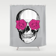 Skull and Roses   Grey and Pink Shower Curtain