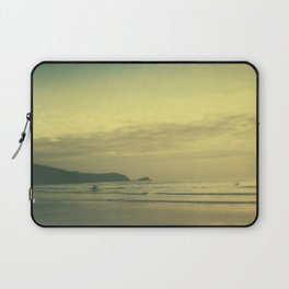 Tilt and shift sun down surfer, Fistral Beach, Newquay, Cornwall Laptop Sleeve