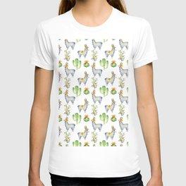 Hand painted blush blue green watercolor lamas floral cactus T-shirt