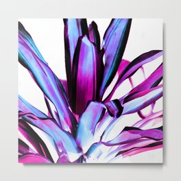 Plant Leaves Abstract Magenta Blue Purple Metal Print