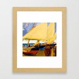 Joaquin Sorolla Beach at Valencia Framed Art Print