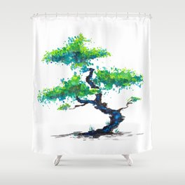 Blue Bonsai Shower Curtain