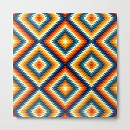 Colorful aztec diamonds pattern Metal Print