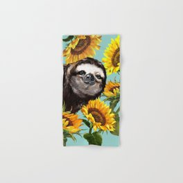 Sloth with Sunflowers Hand & Bath Towel