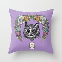 cheshire cat Throw Pillows featuring Cheshire by minniemorrisart