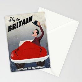 Vintage British car travel poster Stationery Cards