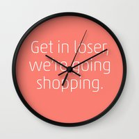 mean girls Wall Clocks featuring Mean Girls #6 – Shopping by Enyalie