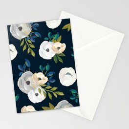 Midnight Florals - Blue & Cream Stationery Cards