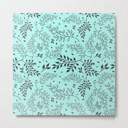 Leaves Illustrated Mint Metal Print