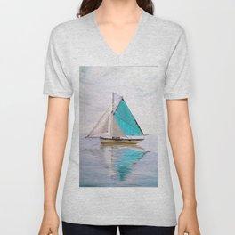 blue boat Unisex V-Neck