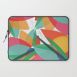 Abstract multicolored tropical flower, bird of paradise, superimposed shapes and transparencies Laptop Sleeve