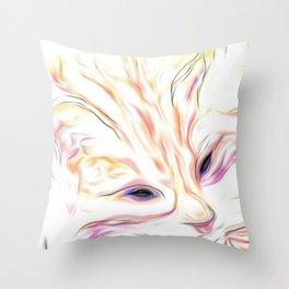 Pink & Coral Cat Throw Pillow