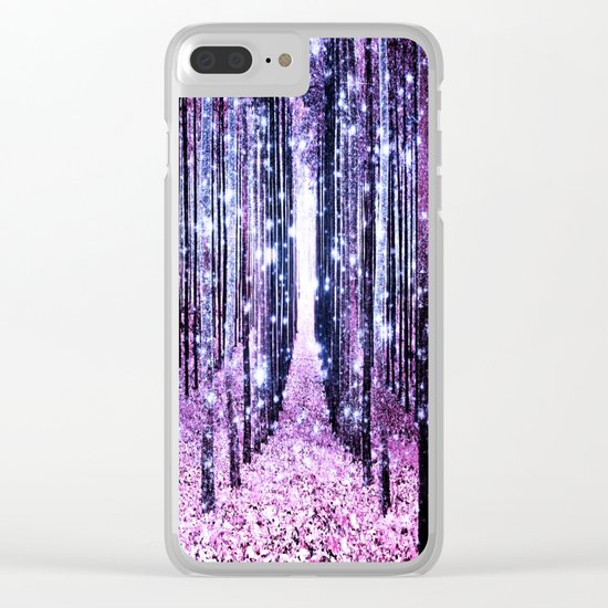 Magical Forest Path Lavender Pink Periwinkle Clear iPhone Case