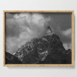Mountain Wrapped in a Cloud Serving Tray