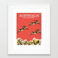 travel poster Framed Art Prints featuring Australia vintage travel poster by Nick's Emporium